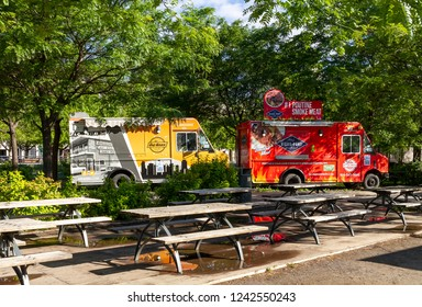 Montreal, Canada - June 25, 2018: Poutine food truck in old port Bonsecours market basin area of Montreal city in Quebec region