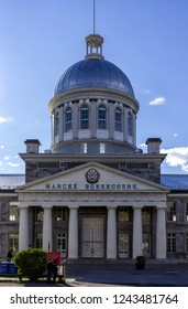 MONTREAL CANADA June 25, 2018: Bonsecours Market (Marche) in Old Montreal, Quebec, Canada. It is the main public market in the Montreal area, and accommodated the Parliament of United Canada in 1849