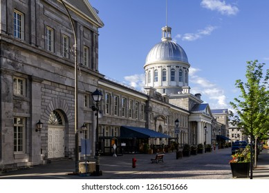 MONTREAL CANADA June 25, 2018: Bonsecours Market (Marche) in Old Montreal, Quebec, Canada. It is the main public market in the Montreal area, and accommodated the Parliament of United Canada in 1849.