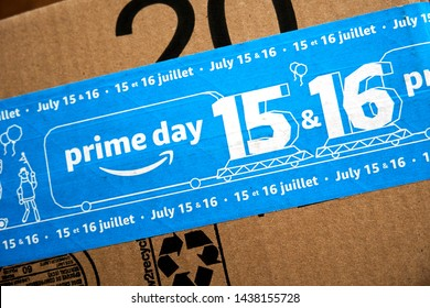 MONTREAL, CANADA - JUNE 28, 2019 : Amazon Prime Day 2019 cardboard box with Prime Day logo and tape on it. Amazon Prime Day is the retailer's big members-only summer sale in month of July each year.