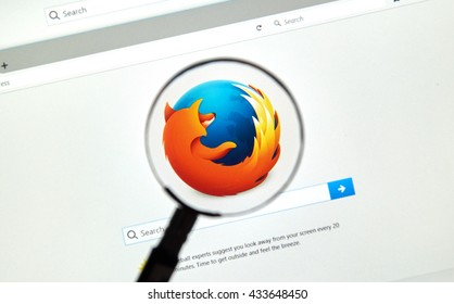 MONTREAL, CANADA - JUNE 4, 2016 : Firefox web browser under magnifying glass. Firefox is a free and open-source web browser developed by the Mozilla Foundation.