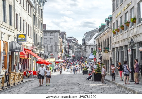 Montreal, Canada - June 6, 2015: Popular St Paul street in the Old Port. People can be seen around.