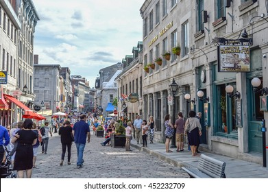Montreal, Canada - June 6, 2016: Popular St Paul street in the Old Port. People can be seen around.