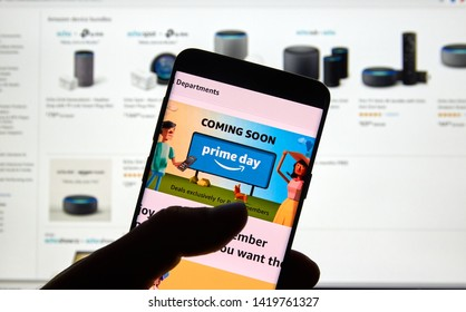 MONTREAL, CANADA - JUNE 9, 2019 : Amazon prime day page and logo on android cell phone over Amazon home page. Amazon Prime Day is the retailer's big members-only summer sale in month of July each year
