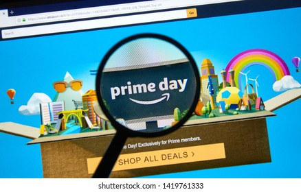 MONTREAL, CANADA - JUNE 9, 2019 : Amazon prime day page on official amazon site under magnifying glass. Amazon Prime Day is the retailer's big members-only summer sale in month of July each year.