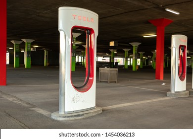 MONTREAL, CANADA - June 9, 2019: Tesla Supercharger Stations at Tesla's Place Vertu location in Montreal, Quebec.