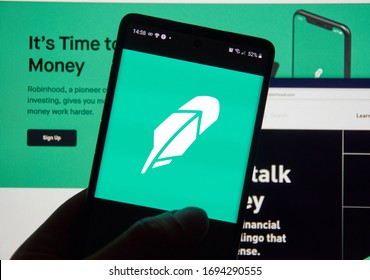 Montreal, Canada - March 08, 2020: Robinhood app and logo on screen. Robinhood financial services company. The company offers mobile app and website that offers people the ability to invest in stocks