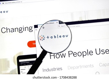 Montreal, Canada - March 08, 2020: Tableau official web site and logo under magnifying glass. Tableau Software is an American interactive data visualization software company