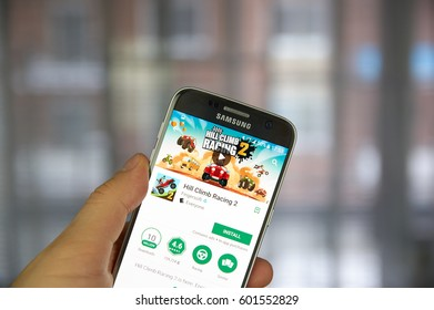 MONTREAL, CANADA - MARCH 10, 2017 : Hill Climb Racing game on Samsung S7 screen. The appl is a popular 2D driving game that puts user behind the steering wheel of different types of vehicles.
