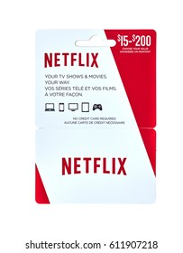 MONTREAL, CANADA - MARCH 10, 2017 : Netflix popular giftcard. The card is a prepaid stored-value money card issued to be used as an alternative to cash for purchases.