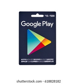 MONTREAL, CANADA - MARCH 10, 2017 : Google Play popular giftcard. The card is a prepaid stored-value money card issued to be used as an alternative to cash for purchases on Google Play.