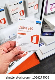MONTREAL, CANADA - MARCH 10, 2018: MIcrosoft Office 365 subscribtion card in a hand. Office 365 is the brand name Microsoft uses for a group of subscriptions that provide productivity software.