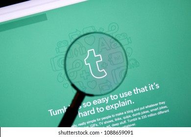 MONTREAL, CANADA - MARCH 10, 2018 : Tumblr web page under magnifying glass. Tumblr is a microblogging and social networking website founded by David Karp in 2007