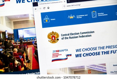 MONTREAL, CANADA - MARCH 13, 2018 : Official site of Central Election Commission of the Russian Federation. The 2018 Russian presidential election will take place on 18 March 2018.