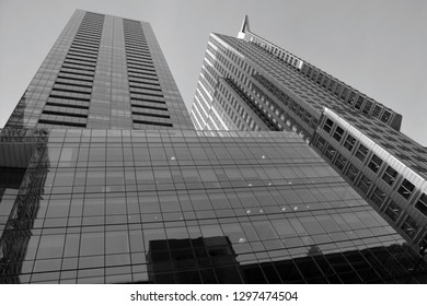 MONTREAL CANADA MARCH 17: Giants skyscrapers 1250 Rene-Levesque, also known as La Tour IBM-Marathon Towers, on march 17 2019 in Montreal, Quebec, Canada