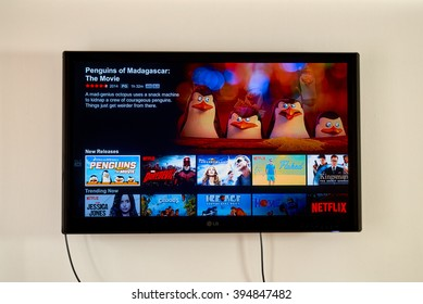 MONTREAL, CANADA - MARCH 20, 2016 - Netflix application running on LG TV. Netflix is a well known global provider of streaming movies and TV series.