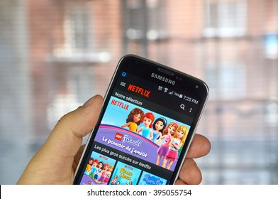 MONTREAL, CANADA - MARCH 20, 2016 - Netflix application running Samsung S5.  Netflix is a popular global provider of streaming movies and TV series