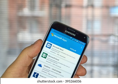 MONTREAL, CANADA - MARCH 20, 2016 - Microsoft Office mobile applications on Samsung S5's screen. Microsoft Office is one of the most popular office suite software.