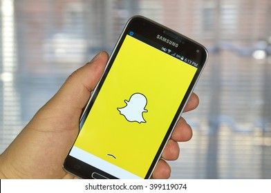 MONTREAL, CANADA - MARCH 20, 2016 - Snapchat application on android smartphone. Snapchat is a mobile messaging application used to share photos, videos, text, and drawings.