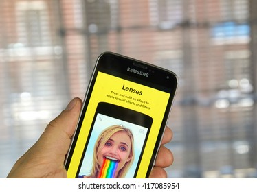 MONTREAL, CANADA - MARCH 20, 2016 - Snapchat lenses on android cell smartphone. Snapchat is a mobile messaging application used to share photos, videos, text, and drawings.