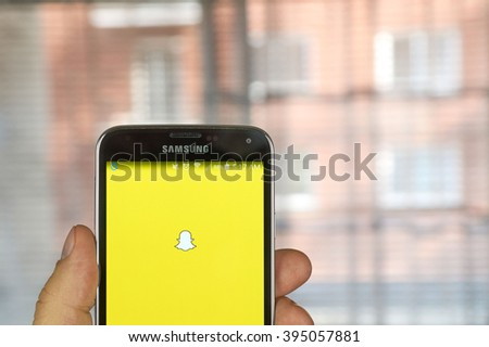MONTREAL, CANADA - MARCH 20, 2016 - Snapchat application on android cell smartphone. Snapchat is a mobile messaging application used to share photos, videos, text, and drawings.