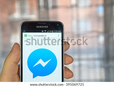MONTREAL, CANADA - MARCH 20, 2016 - Facebook messenger  logo on Samsung S5's screen. Facebook Messenger is an instant messaging service and software application.
