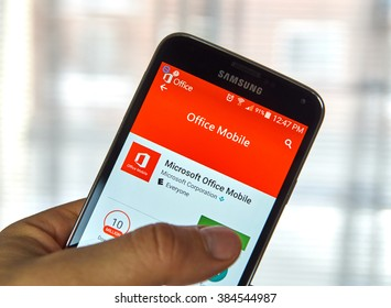 MONTREAL, CANADA - MARCH, 2016 - Microsoft Office mobile application on Samsung device's screen. Microsoft Office is one of the most popular office software.