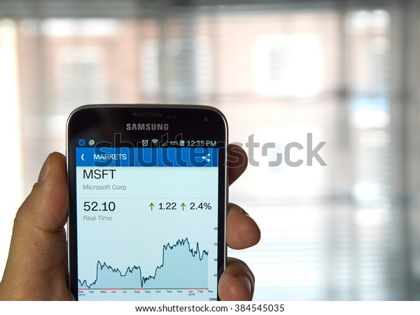MONTREAL, CANADA - MARCH, 2016 -  MSFT - Microsoft stock ticker with chart on screen of mibile Samsung S5 in a hand. Microsoft Corporation is an American multinational technology company.