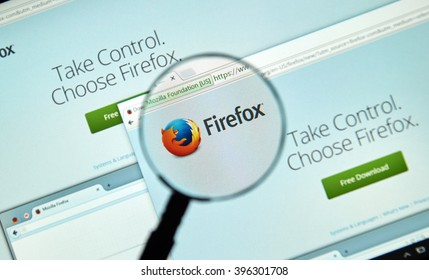 MONTREAL, CANADA - MARCH 25, 2016 - Firefox web browser  under magnifying glass. Firefox  is a free and open-source web browser developed by the Mozilla Foundation.