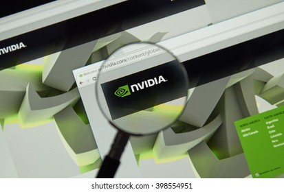 MONTREAL, CANADA - MARCH 25, 2016 - Nvidia internet page under magnifying glass. NVIDIA Corporation is an American technology company.