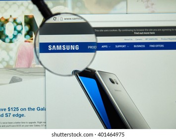 MONTREAL, CANADA - MARCH 25, 2016 - Samsung internet page under magnifying glass. Samsung is a South Korean multinational conglomerate company