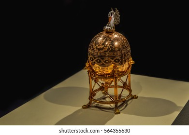 Montreal, Canada - March 27, 2016: Close-up of the The Dowager (or Imperial Pelican) Faberge egg.