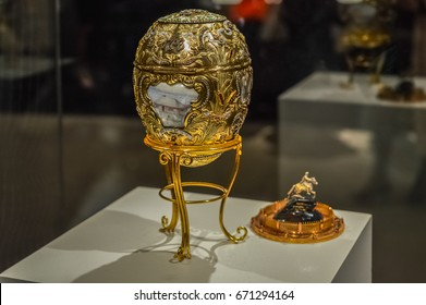 Montreal, Canada - March 27, 2016: Close-up of the Village House Faberge egg.