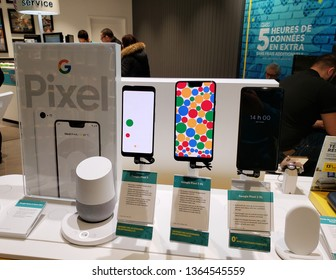 MONTREAL, CANADA - MARCH 28, 2019: Google Pixel 3, 3 XL and 2 XL line in a mobile store. Google Pixel is a line of electronic devices developed by Google.