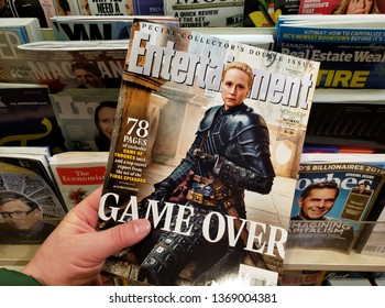 MONTREAL, CANADA - MARCH 28, 2019: Entertainment Weekly Special collectors double issue. Game Over - Game of Thrones speciall issue with Brienne of Tarth on the front cover.