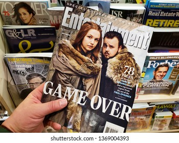 MONTREAL, CANADA - MARCH 28, 2019: Entertainment Weekly Special collectors double issue. Game Over - Game of Thrones speciall issue with Samwell Tarly and Gilly on the front cover.