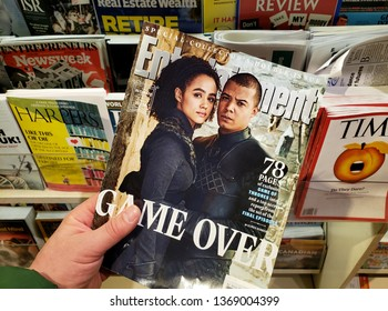 MONTREAL, CANADA - MARCH 28, 2019: Entertainment Weekly Special collectors double issue. Game Over - Game of Thrones speciall issue with Grey Worm and Missandei on the front cover.