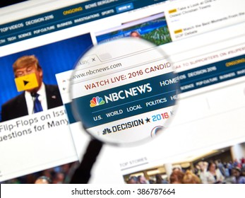 MONTREAL, CANADA - MARCH 5, 2016 - NBC News web page under magnifying glass.