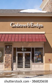 MONTREAL, CANADA - MARCH 6, 2016 - Crabtree and Evelyn outlet in  Premium Outlets Montreal. The Premium Outlets is the second Premium Outlet Center in Canada located in Mirabel, Quebec.