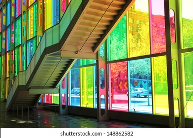 MONTREAL, CANADA - MAY 06 2013:  Main facade of congres center in Montreal downtown with multicolored glass pannel created by Mario Saia in 2002