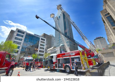 MONTREAL CANADA MAY 18: Fire engine on may 18 2014 in Montreal Canada. Service de securite incendie de Montreal the SIM is the 7th largest fire department in North America.