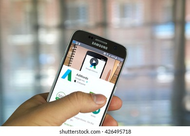 MONTREAL, CANADA - MAY 23, 2016 : Google AdWords app on Samsung S7 screen. AdWords is an advertising service by Google for businesses wanting to display ads on Google and its advertising network