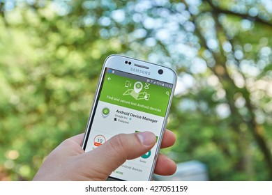 MONTREAL, CANADA - MAY 23, 2016 : Google Android Device Manager application on Samsung S7 screen. Android Device Manager locates lost devices and helps keep it and the data inside it safe and secure