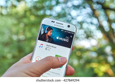 MONTREAL, CANADA - MAY 23, 2016 : Apple Music android application on Samsung S7 screen. Apple Music is a music streaming service, developed by Apple Inc.