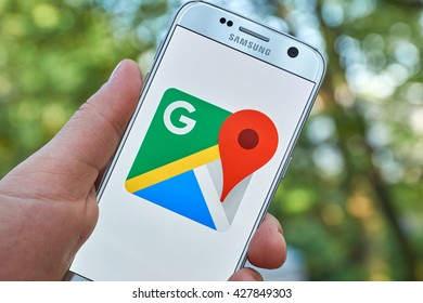 MONTREAL, CANADA - MAY 23, 2016 : Google Maps application on Samsung S7 screen. Google Maps is a free online map from Google.