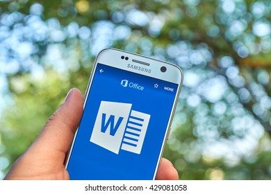 MONTREAL, CANADA - MAY 23, 2016 - Microsoft Office 365 Word application on Samsung S7.