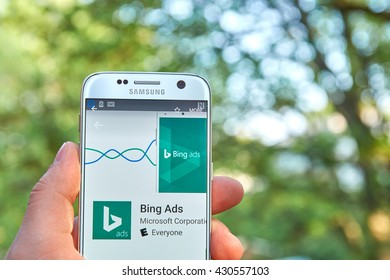 MONTREAL, CANADA - MAY 23, 2016 : Bing Ads application on Samsung s7 screen. Bing Ads is a service that provides pay per click advertising on both the Bing and Yahoo! search engines