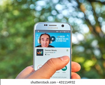MONTREAL, CANADA - MAY 23, 2016 : Deezer application on Samsung S7 screen. Deezer is a music streaming service offering users access to over 35 million tracks,