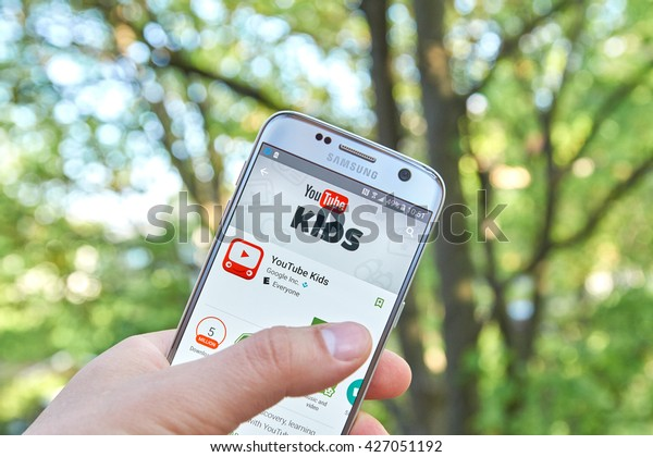 MONTREAL, CANADA - MAY 23, 2016 : Google Youtube Kids application on Samsung S7 screen. YouTube Kids app offers family friendly content and basic parental controls.