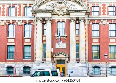 Montreal, Canada - May 26, 2017: Ecole des Beaux-Arts famous art school exterior in city in Quebec region with car and people